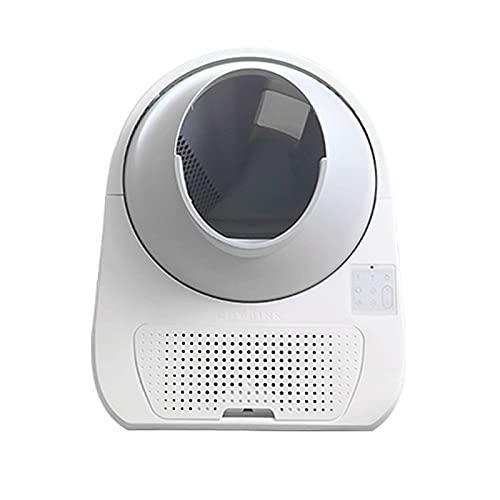 Bdesign Caja de basura de voz inteligente extra grande, inodoro automático para gato para gato de arena de gato automático de limpieza rotatoria de la inducción Robot de corte de gato grande Kitty aut