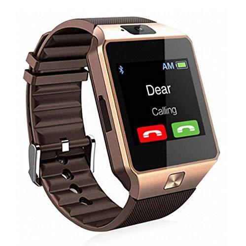 GGPUS Orologio Smart, Orologio per Telefono Card Stand-Alone, Orologio per Telefono Adulto Bluetooth,Gold