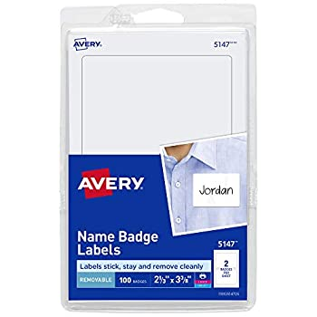 Avery Personalized Name Tags Print or Write 2-1/3  x 3-3/8  100 Adhseive Name Tags  5147