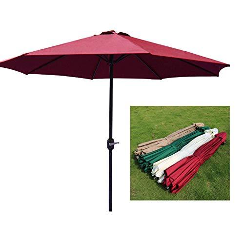 SHBV Sombrilla de jardín UV50 + sombrilla Grande de poliéster para Parque de Cubierta Camping Playa manivela sombrilla 2 7 m protección Solar Impermeable Beige/Verde Oscuro 8 Varillas