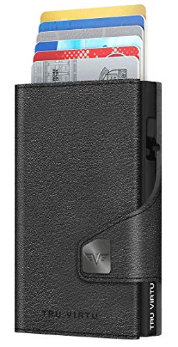 Tru Virtu® Kreditkartenetui RFID/NFC Schutz - Portemonnaie Click & Slide Nappa Black/Black - Geldbörse mit Scheinfach aus Aluminium & Leder für Herren - 9.9 x 6.7 x 2.1 cm