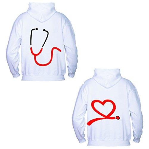 love print - Par de Sudaderas Ideas Regalo Enamorados San Valentín Amor Estetoscopio Bianco Hombre L/Mujer M