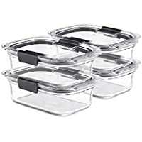 4-Pack Rubbermaid Brilliance Glass Storage 3.2-Cup Food Containers