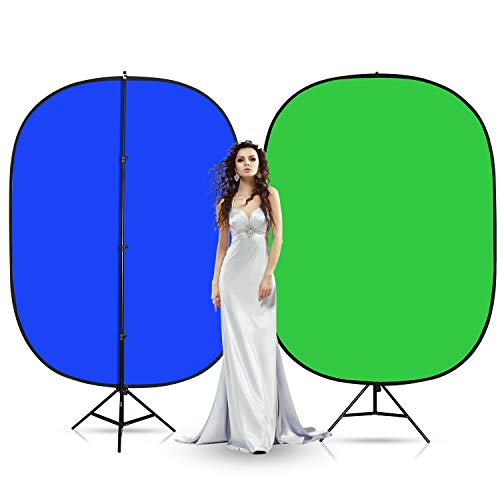 Heavy Duty Stand RAUBAY 5 x7  Collapsible Green & Blue Screen, 2-in-1 Pop-Up Backdrop Panel with 94.5  Stand, Portable Studio Background Kit for Photo & Video Recording, Live Streaming, Photography