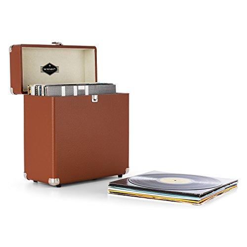 auna Vinylbox Maleta transporte vinilo (Caja portátil discos, 30Lp capacidad, interior acolchado aterciopelado, cantos metálicos resistentes golpes, diseño vintage) - marrón
