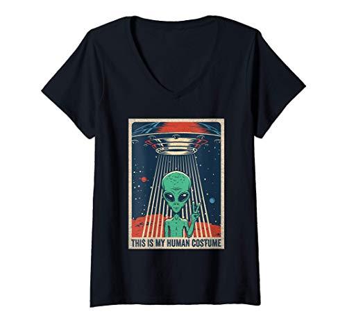 Mujer Divertido disfraz de alienígena de Halloween OVNI Alienígena Camiseta Cuello V