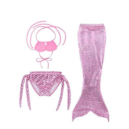 3 Pedazos Una De La Sirena Del Traje De Baño Traje De Baño De La Sirena Del Traje De Baño Del Bikini Para Niñas - Rosa Tamaño 110