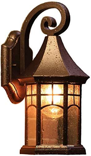 Despeje Colores de cobre Lámpara de pared al aire libre Retro Vintage Rústico E27 Vajilla IP23 Colores de cobre Lámpara al aire libre 1 Llama Lámpara antideslizante Lámpara de aluminio Lámpara de vidr