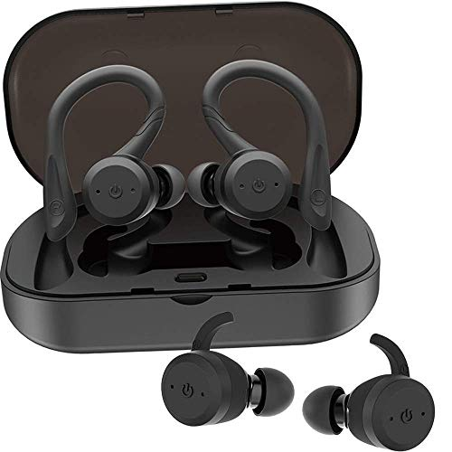 Auriculares inalámbricos Bluetooth a Prueba de Agua IPX7, 5 Horas de reproducción, Mini Auriculares internos con cancelación de Ruido, micrófono Incorporado y Caja de Cargador, para Correr d