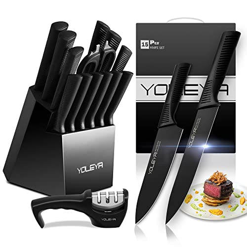 Knife Set,YOLEYA 15 Pieces Kitchen Knife Set Stainless Steel Non Stick Coating Knives set with Block,Professional Knives Set for Kitchen