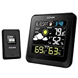 Govee Wireless Weather Station, Color LCD Display, Weather Forecast with Outdoor Sensor, Digital Temperature and Humidity Gauge with Alarm Clock, Backlight,Moon Phase, Snooze Mode