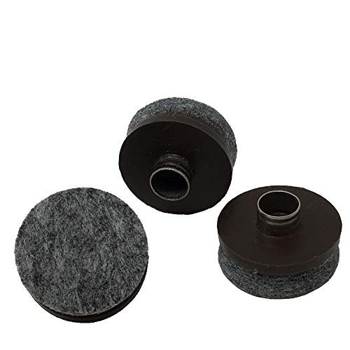 """1"""" Dia. Heavy Duty Felt Nail-on Slider Glide Pads for Chairs, Stools, Tables - Furniture Slides Like Magic -Tile & Hard Wood Floor Protector - Espresso - 32 pcs."""