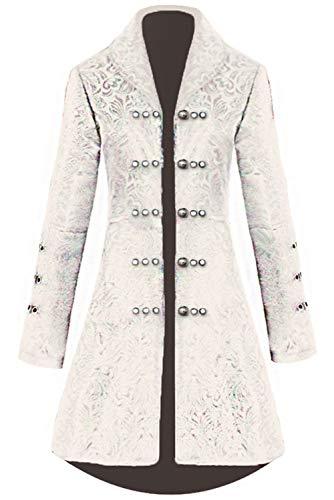 obtai Traje de Esmoquin para Mujer Estilo gtico con Chaqueta Steampunk para Disfraz Victoriano - Blanco - Small