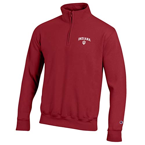 Champion NCAA Indiana Hoosiers Eco Powerblend Pocketless 1/4 Zip, X-Large, Cardinal