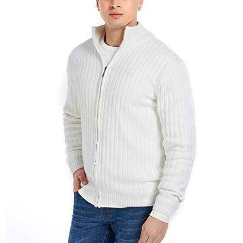APRAW Men's Casual Slim Fit Cardigan Sweaters with Zipper Cotton Knitted Cardigan for Men White