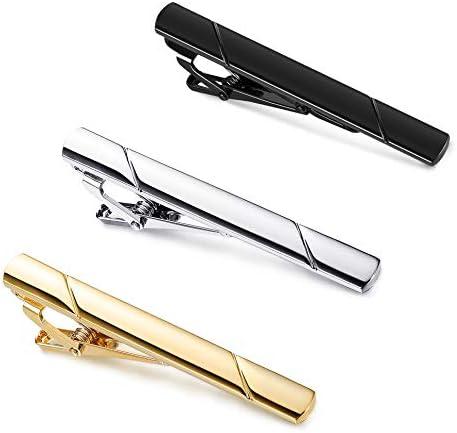 YADOCA 3 Pcs Tie Clips for Men Tie Bar Set Necktie Clips for Wedding Anniversary Business Black product image