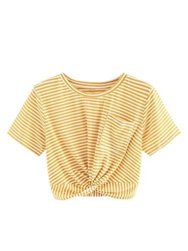 MakeMeChic Causal Women's Twist Knot Front Pocket Short Sleeve Crop Top Tee Shirt Yellow Stripes L