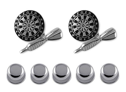 Sterling silber schwarz Emaille Dart & dartboard Manschettenknöpfe Shirt Dress Bolzen Geschenkset