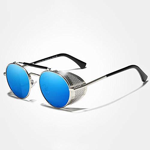 YYMM Gafas de Sol Redondas Retro, Gafas de Escudo Lateral Steampunk Hombres Mujeres Gafas de Sol Sombras Vendimia Viajes Gafas, Polarizadas avanzadas, para Todos,A