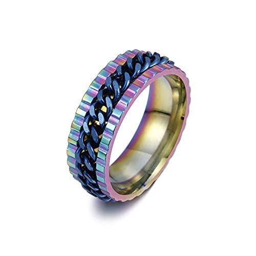 LYLY Anillos de cadena giratorios para aliviar el estrés para hombres y mujeres, anillo de boda, regalo de joyería (color principal de la piedra: amarillo, tamaño del anillo: 8)