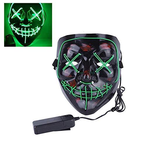 UYZ Mscara Facial de Halloween Mscara de Baile Fluorescente LED 4 Modos de iluminacin Disfraz de Cosplay Mscara EL para Hombres Mujeres Nios
