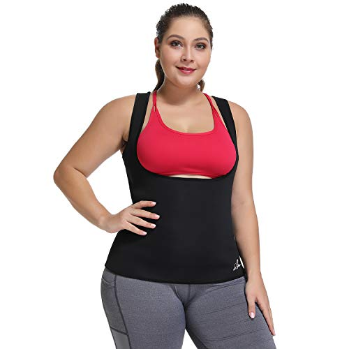 Waist Trainer Corset for Weight Loss Plus Size Workout Sweat Vest for Women Slimming Body Shaper (Black, L)