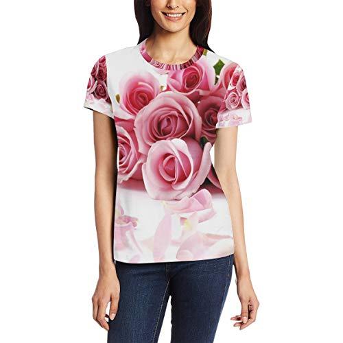 Awesome Romantische Rosen Damen Casual T-Shirt Kurzarm Tunika Tops Rundhals Bluse...