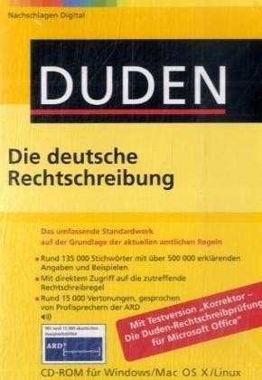 Duden 01. Die deutsche Rechtschreibung.  Office-Bibliothek. CD-ROM für Windows, Mac OS X und Linux: Das umfassende Standardwerk auf der Grundlage der neuen amtlichen Regeln