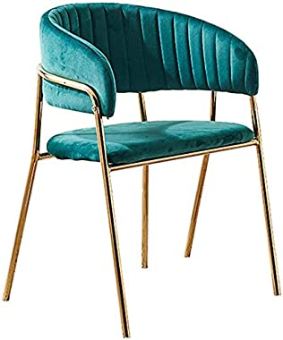 Kitchen Dining Chairs, Modern Fabric Cushion Seat Chair w/Metal Legs/Wide Backrest, for Kitchen, Dining Room, Restaurant, Gre