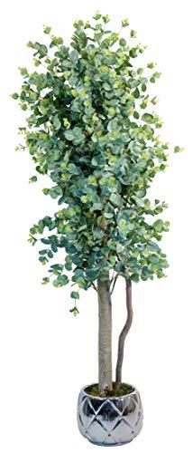 Maia Shop Eukalyptus mit natürlichen Stämmen, ideal für die Inneneinrichtung, Baum, künstliche Pflanze (150 cm), Eucalyptus