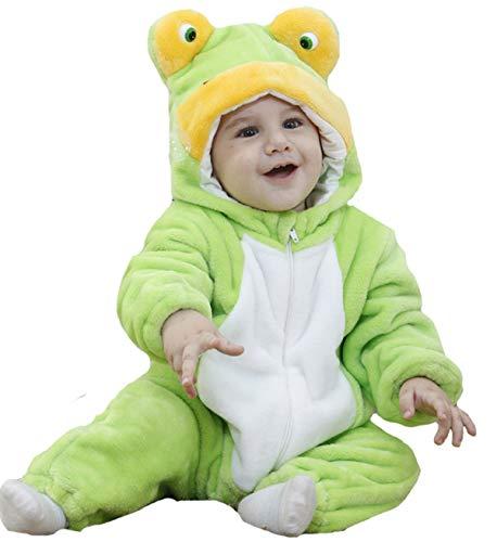Doladola Unisex Baby Kleinkinder Strampler Overall mit Kapuze Cartoon Schlafanzüge (Frosch, Größe 110 Alter 24-30 Monate)