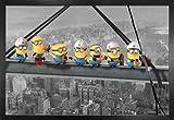 1art1 GRU, Mi Villano Favorito Póster con Marco (Madera DM) - Minions Lunch On A Skyscraper (91 x 61cm)