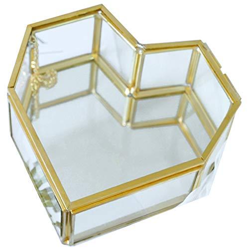 Tiamu Volteado Caja de Joyería de Cristal GeoméTrica en Forma de CorazóN Caja de Anillo de Vidrio Caja de Anillo de Joyería de Boda úNica Exquisita para DecoracióN de Boda