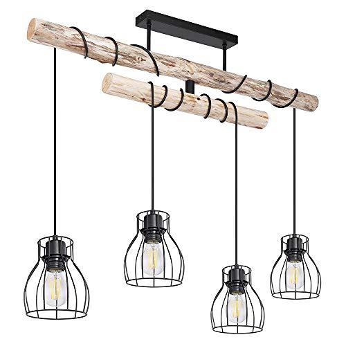 Decken Pendel Leuchte Holz Balken Wohn Ess Zimmer Beleuchtung Käfig Strahler Hänge Lampe natur schwarz