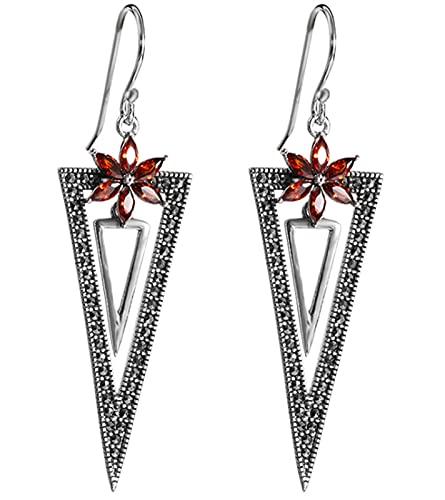 CHXISHOP Pendientes de mujer vintage de plata 925 hueco tallado borla granada rojo pendientes triangular, pendientes de gota estilo 1