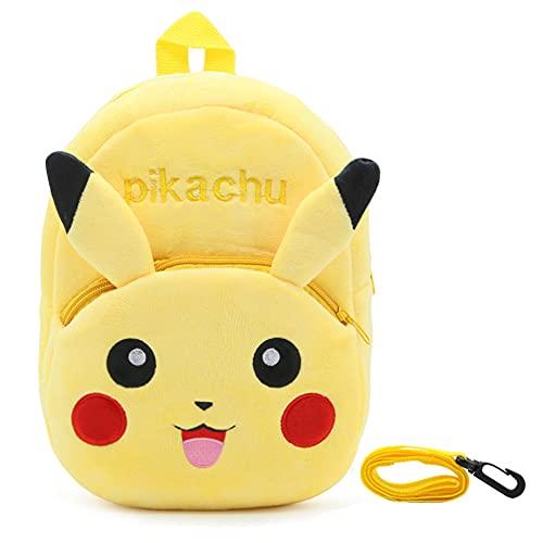 Pikachu Enfants Peluche Sac à Dos, Pikachu Mini Sac à Dos en Peluche, Dessin Animé Animal Sac à Dos, Sacs à Dos pour Enfant avec Câble de Remorquage, pour Maternelle Préscolaire Enfant 2 à 4 Ans