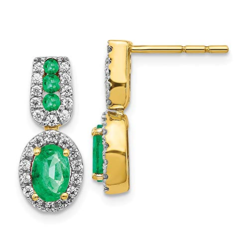 14k Yellow Gold 1/3ct Diamond Green Emerald Post Stud Earrings Gemstone Fancy Drop Dangle Fine Jewellery For Women Gifts For Her
