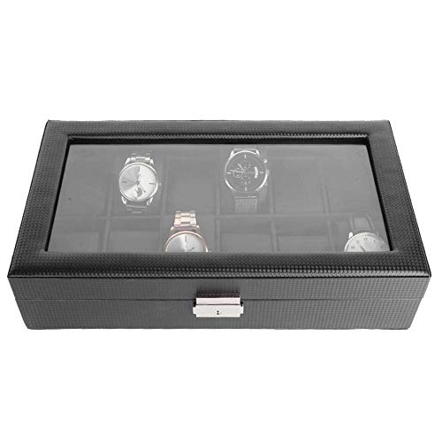 yuyte Caja de Relojes,12 Ranuras Caja de Almacenamiento del Reloj, Caja de Exhibición del Reloj con Llave
