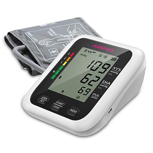 JUMPER Oberarm Blutdruckmessgerät mit 2 Benutzern, 2 Stromversorgungsmodul, 198 Messwertspeicher, Genaues Digitales Blutdruckmessgerät mit Großem Display, Einstellbare Manschette (Weiß)