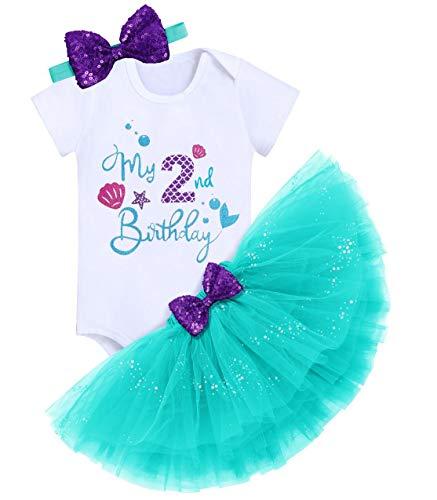 FYMNSI Costume da sirena da principessa, in cotone, a maniche corte + gonna + fascia per capelli, 3 pezzi, Verde - 2° compleanno, 2 Anni