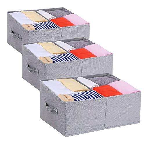 DIMJ Lot de 3 Boites de Rangement Pliables, Caisse de Rangement en Tissu avec Poignée Renforcée, Panier de Rangement Portable pour Vêtements, Livres, Jouets, Maison (Gris)