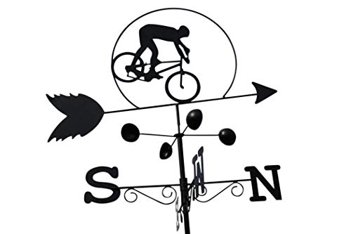 GardenMarketPlace Wetterfahne für Radfahrer, Stahl, mit Erdspieß und Wandbefestigung