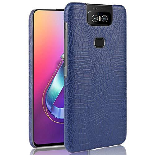 HualuBro Handyhülle für Asus Zenfone 6 ZS630KL Hülle, Premium PU Leder Hardcase [Ultra Dünn] Lederhülle Tasche Schutzhülle Hülle Cover für Asus Zenfone 6 ZS630KL 2019 (Blau)