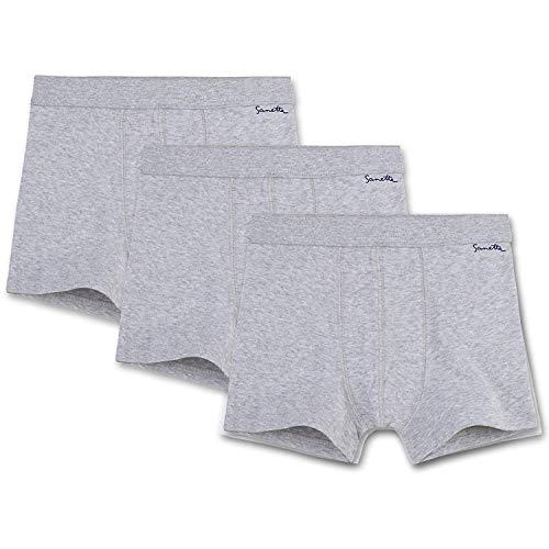 Sanetta Ragazzi Pantaloncini Pacco da 3 - Pantaloni, Mutande, Cotone Organico, 104-176, Grigio Chiaro - Grigio, 116 (4-5 Anni)