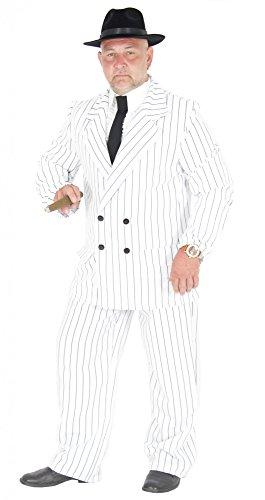 Foxxeo 40181 | weißer 20er Jahre Gangster Anzug Kostüm Herren Karneval Fasching Party Gr. S-XL, Größe:XL