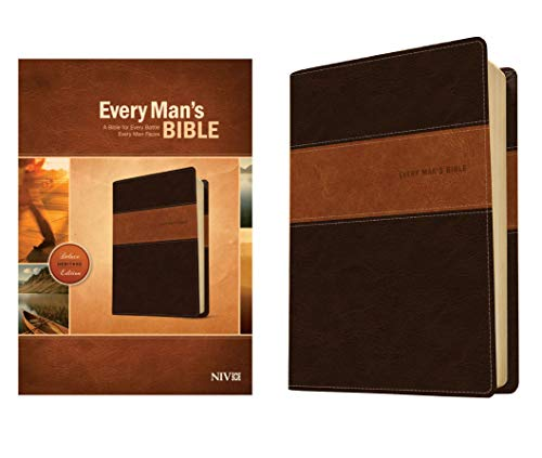 Every Man's Bible NIV, Deluxe Heritage Edition, TuTone (LeatherLike, Brown/Tan) – Study Bible for Men with Study Notes, Book Introductions, and 44 Charts