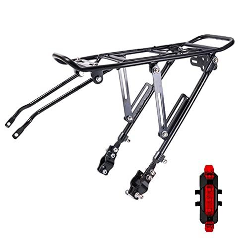 Aleación Aluminio Bicicletas Fácil de Instalar y Quitar Ajustable Porta Equipaje 70KG MTB Carrier Trasera Bicicleta, con luz Trasera de Carga USB con Accesorios de Montaje