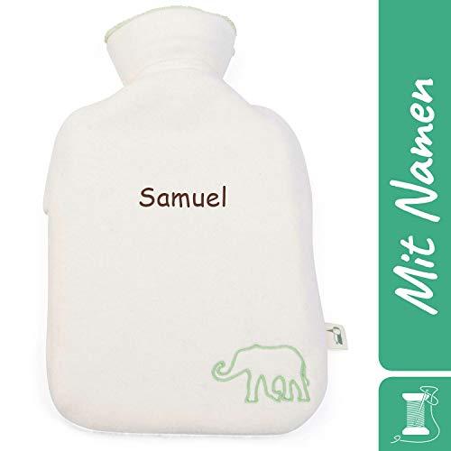 Grünspecht Bio-Kinder-Wärmflasche mit Namen personalisiert, 0.8 l, Naturkautschuk, beige 640-00