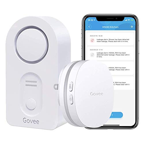 Govee WiFi Water Sensor, 100dB Adjustable Audio Alarm and Smart App Alerts, Leak and Drip Alert with Email, for Home, Basement