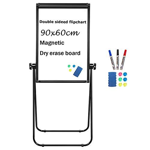 Whiteboard, magnetisch, trocken abwischbar, Flipchart-Staffelei, Whiteboard, doppelseitige Staffelei, tragbares Whiteboard 90x60 Blcak